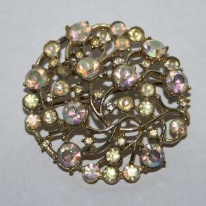 Beautiful gold AB rhinestone brooch